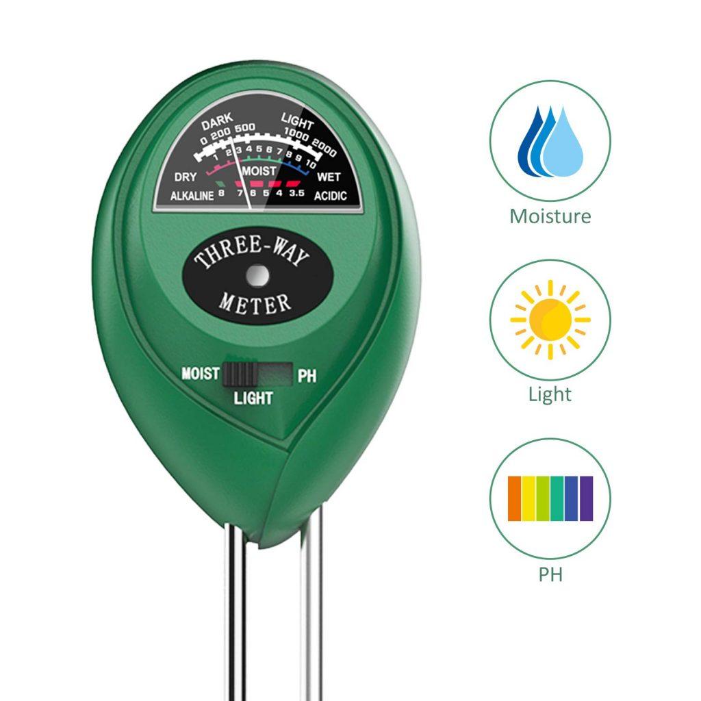 Upgrade Soil Moisture Meter Sunlight PH Acidity 3-in-1 Soil Tester Kit for Garden Farm Lawn Planter (No Battery Needed)