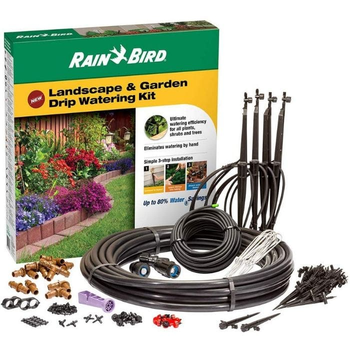 Rain Bird Drip Irrigation Landscape And Garden Watering Kit with Drippers