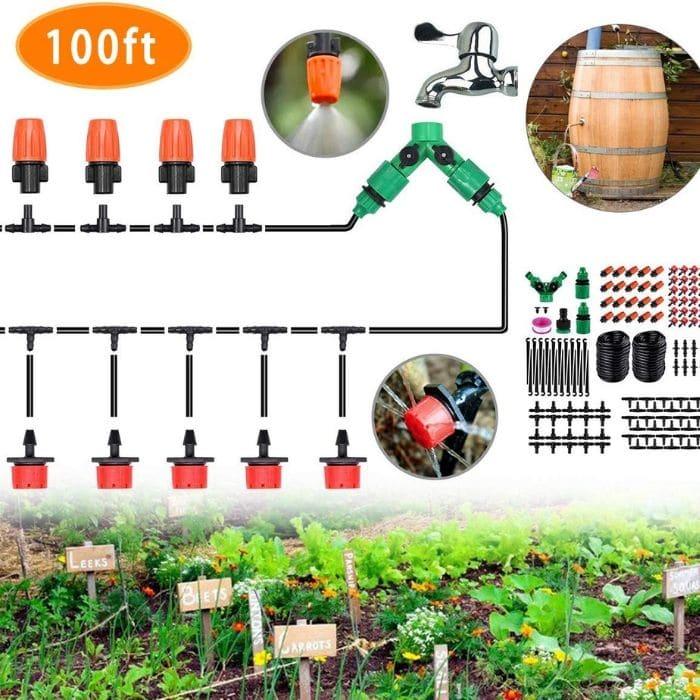 CYEVA 100-Feet Rain Barrel Drip Irrigation Kit with Y Shape 2-Way Splitter