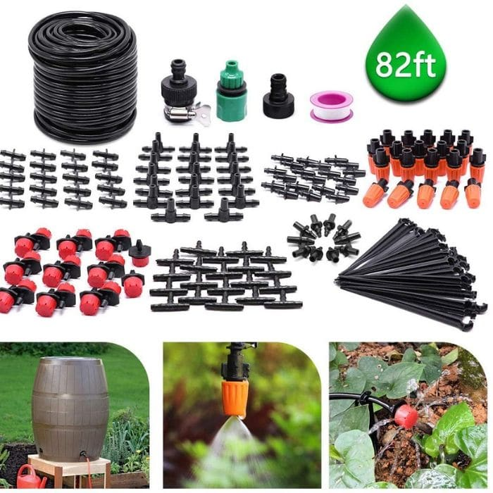 CYEVA 82ft/25M Drip Irrigation Kit with 40 Pieces Adjustable Emitters