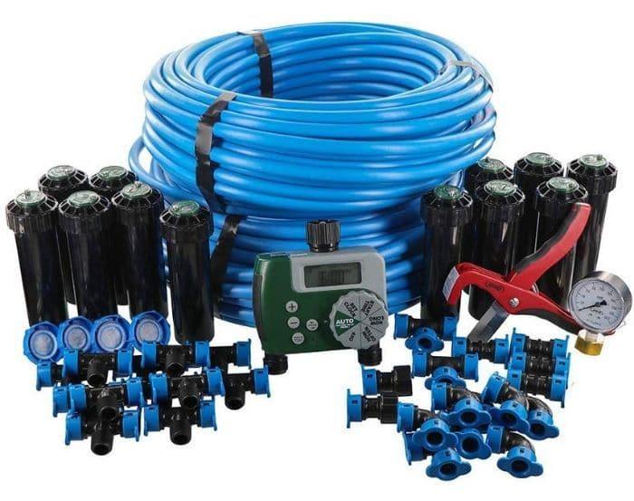 Orbit In-Ground Blu-Lock Tubing System and Digital Hose Faucet Timer 2-Zone Sprinkler Kit