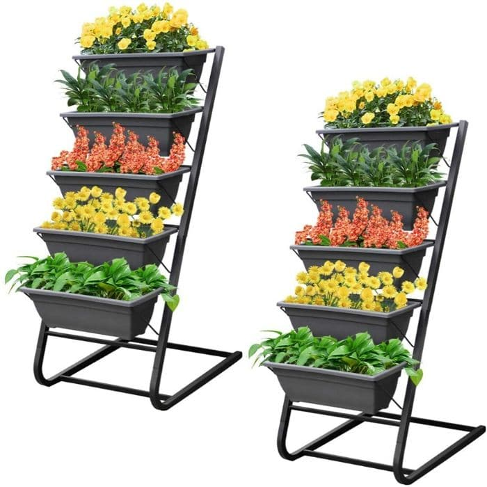 raised planter boxes with flowers